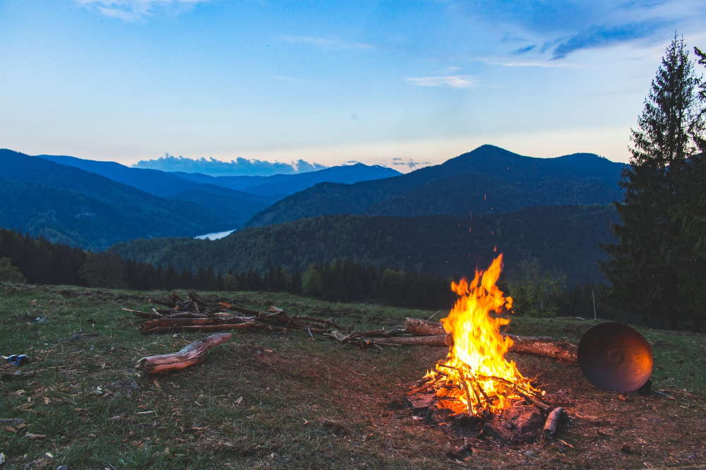 camping fire on landscape