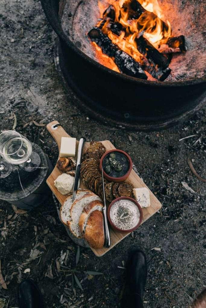 food near camp fire