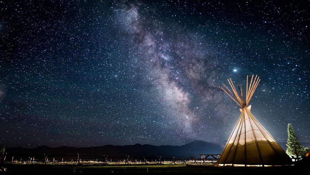 camping tent stargazing