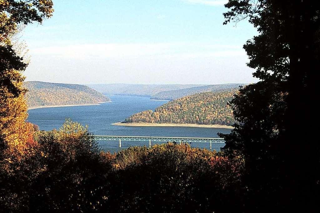 Allegheny Reservoir - Flowing across tree-covered hills in southwestern New York